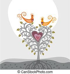 Liebesvögel und herzförmiger Baum