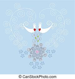 Liebesvögel und Herzschmuck