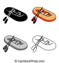 lifeboat., boote, seiten, stil, symbol, ikone, vektor, karikatur, boot, bestand, rescue., groß, ledig, illustration., wasser, orange, schiff, transport, wiegt, gummi