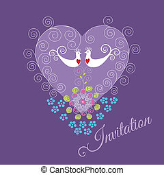 Lila Einladung mit zwei Liebesvögeln