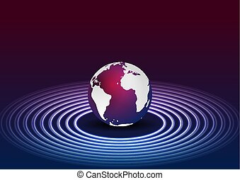 lila, kreise, neon, blauer globus, hintergrund, technologie