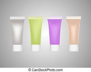 lila, rohr, grün, perle, beige, gel, isolates, creme
