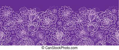 Lila Spitzenblumen horizontale, nahtlose Muster-Hintergrundgrenze.