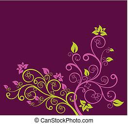 Lila und grüne Blumenvevektorgrafik.