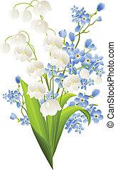 Lilien aus dem Tal und blaue Blumen isoliert auf Weiß