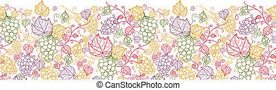 Line art vines horizontales, nahtloses Muster.