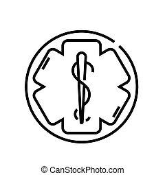 linear, medizinprodukt, begriff, grobdarstellung, ikone, symbol., zeichen, vektor, linie, abbildung