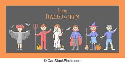 linear, vampire, feier, halloween, gehen, stil, concept., karikatur, leute, zombie, party, grobdarstellung, tot, übel, zusammen., satz, vektor, wohnung, kirmes, verkleidet, charaktere, hexen, abbildung
