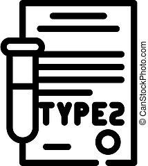 linie, 2, zuckerkrankheit, art, wohnung, ikone, vektor, abbildung