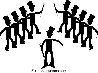 linie, stock, broadway, dancers..., mann
