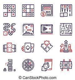 linie, tisch, satz, ikone, spiele, vektor, farbe