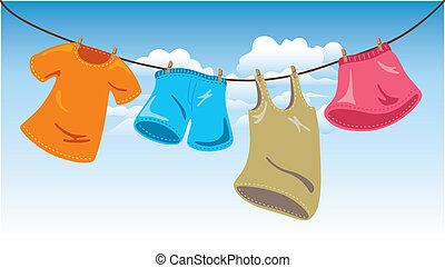 linie, waschen kleidung