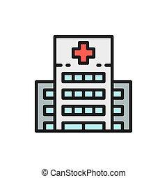 linie, wohnung, medizinische klinik, gebäude, icon., klinikum, farbe