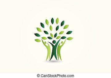 logo, ökologie, baum, leute