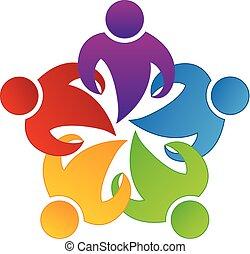 logo, einheit, gemeinschaftsarbeit, geschäftsmenschen