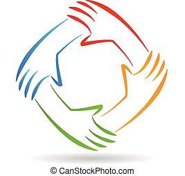 logo, einheit, gemeinschaftsarbeit, hände
