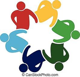 logo, einheit, gemeinschaftsarbeit, leute