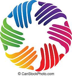 logo, firma, vektor, hände, wohltätigkeit