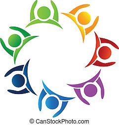 logo, gemeinschaftsarbeit, auf, hände