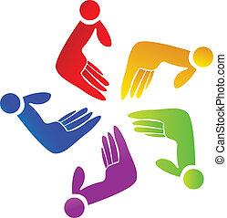 logo, gemeinschaftsarbeit, gefärbt, hände