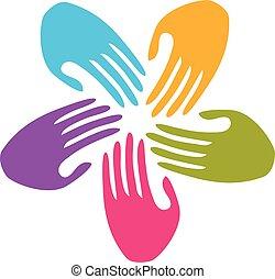 logo, gemeinschaftsarbeit, hände