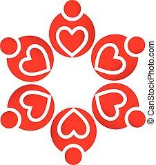 logo, gemeinschaftsarbeit, lieben herzen