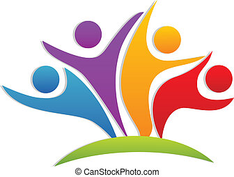 logo, glücklich, gemeinschaftsarbeit, partner