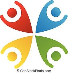 Logo glückliche Menschen Teamwork.