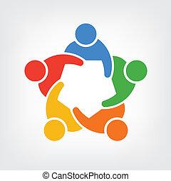 Logo-Gruppe von Leuten, Team 5.