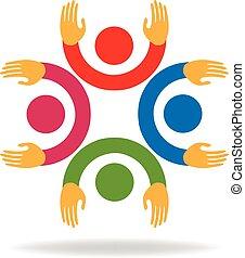 logo, hände, gemeinschaftsarbeit, auf, leute