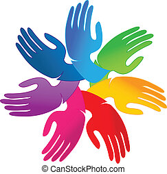 logo, hände, gemeinschaftsarbeit, leute