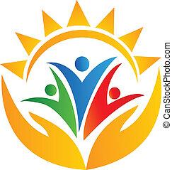 logo, hände, gemeinschaftsarbeit, sonne