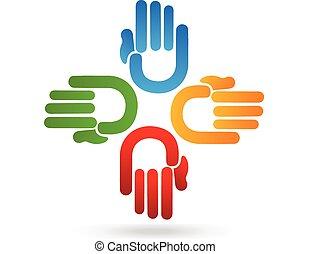 logo, hände, mannschaft