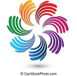 logo, hände, solidarität, mannschaft