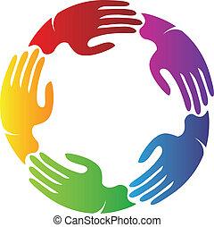 logo, hände, verbunden, mannschaft