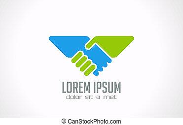 Logo-Händeschütteln abstrakten Vektoren. Partnerschaftsunion.