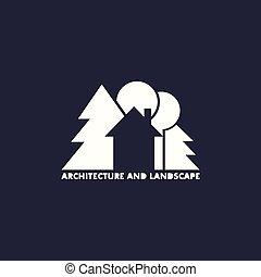 Logo-Haus mit Bäumen