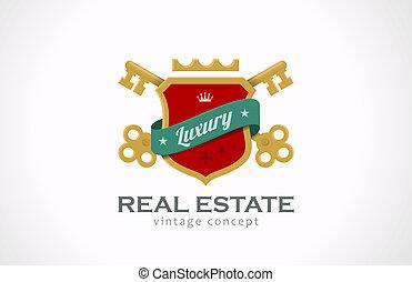 Logo Immobilien Luxus. Schlüssel und Schild mit Schleifen.