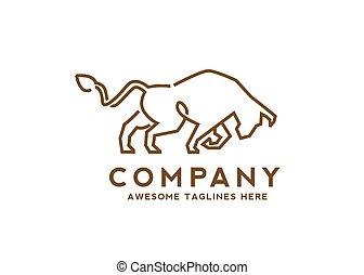 logo, kunst, stier, aggressiv, linie, wild, starke