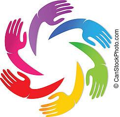 logo, mannschaft, zusammen, hände
