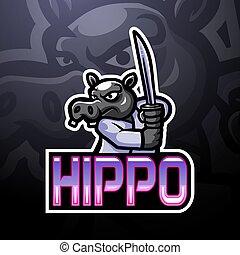 logo, nilpferd, esport, maskottchen, design