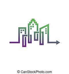 logo, pfeildesign, gebäude