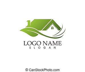 logo, schablone, vektor, natur, gebäude, daheim