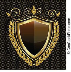 logo, schutzschirm, gold