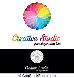 logo, studio, schablone, kreativ