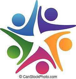 Logo-Team mit Händen.