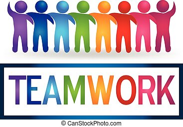 Logo Teamwork, das Leute umarmt.