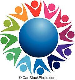 Logo Teamwork Welt-Business-Leute.