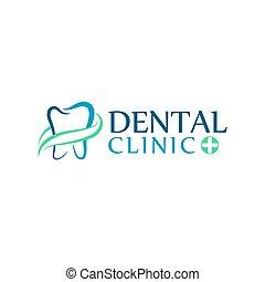 Logo Zahnklinik, Zahnarzt für Kinder. Abstrakte Bilder