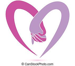 logo, zusammen, hände
